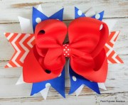 red white and blue hair bow chevron