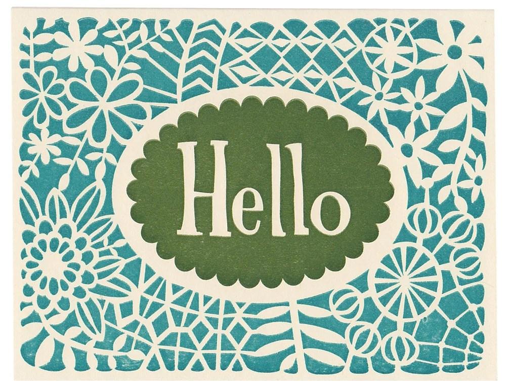 handmade letterpress Hello greeting card - MorrisandEssex