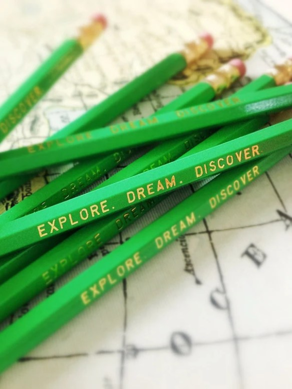 Explore. Dream. Discover. Green Pencils, pencil pack, travel gifts, adventure gifts, mothers day, graduation gift, fathers day, teacher gift