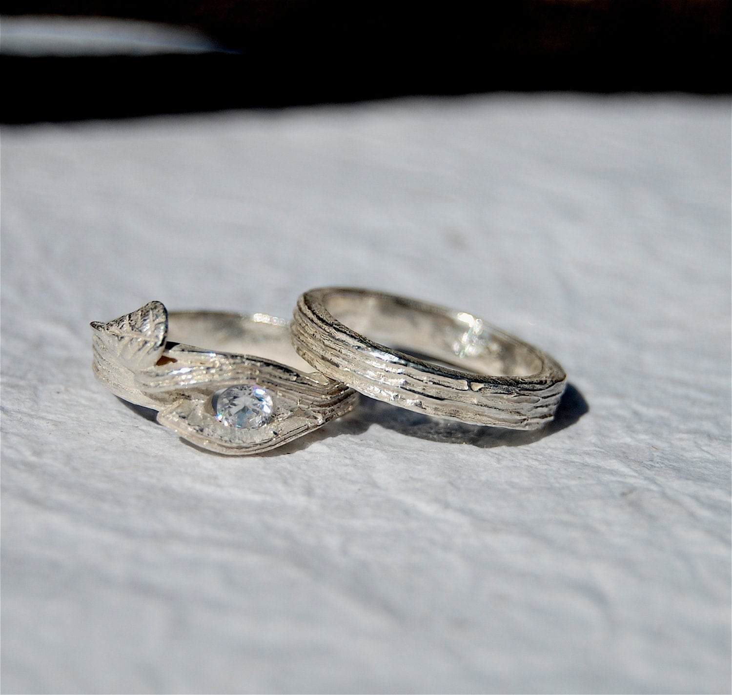 BRANCH Twig Ring Engagement Swarovski Lab Wedding Set Tree