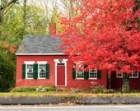 Red House photography. Maine photography. Fall colors print. Red. Green. Gray. Country Home Decor. Rustic Wall Art 8x12, 5x7 matted to 8x10