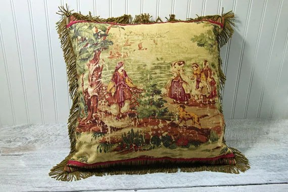 French Country Toile Pillow Decorative Pillow by