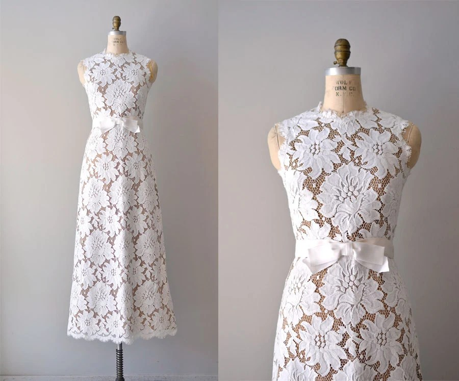 Vintage Lace Wedding Dress / 1960s Wedding Gown / Love's