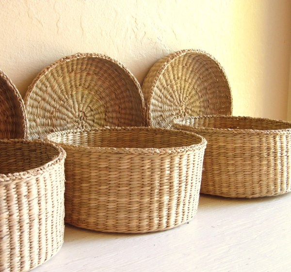 Reserved Trio Of Vintage Woven Baskets With Lids Storage