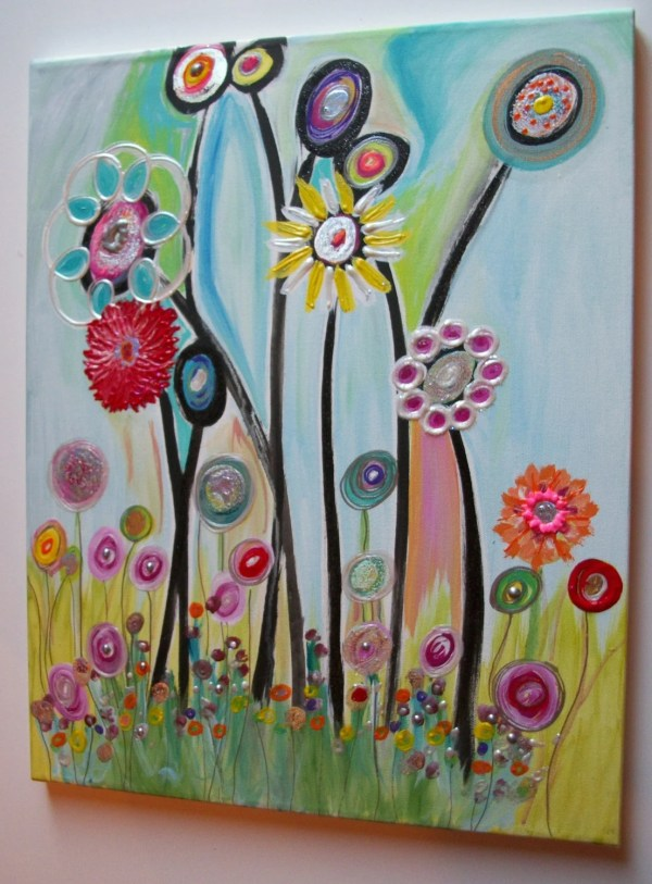 Childrens Canvas Wall Art Abstract Acrylic Painting 20lx16w