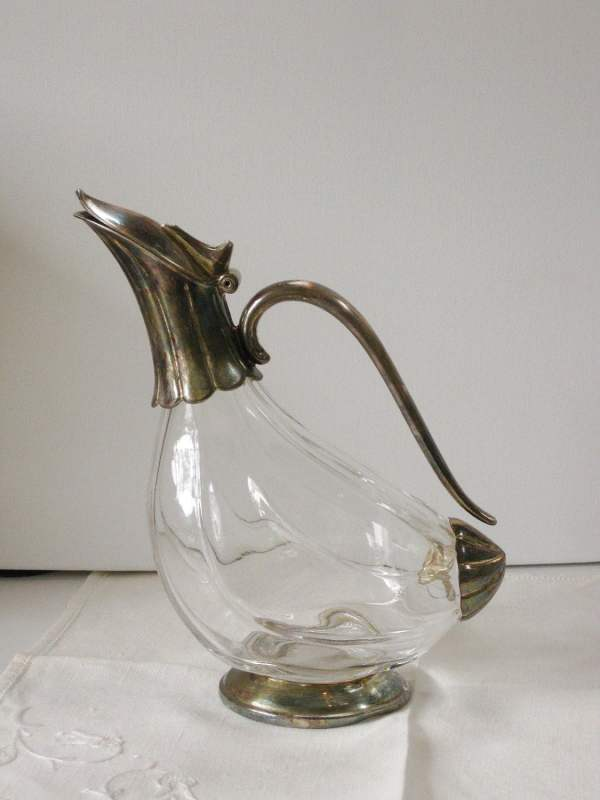 Vintage Glass Pitcher With Silverplate Hinged Lid Handle