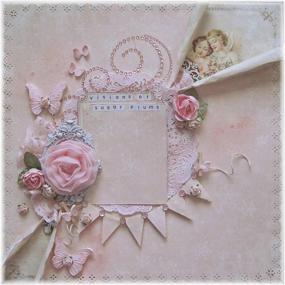 Shabby Chic Premade 12x12 Scrapbook Layout Pion Silent