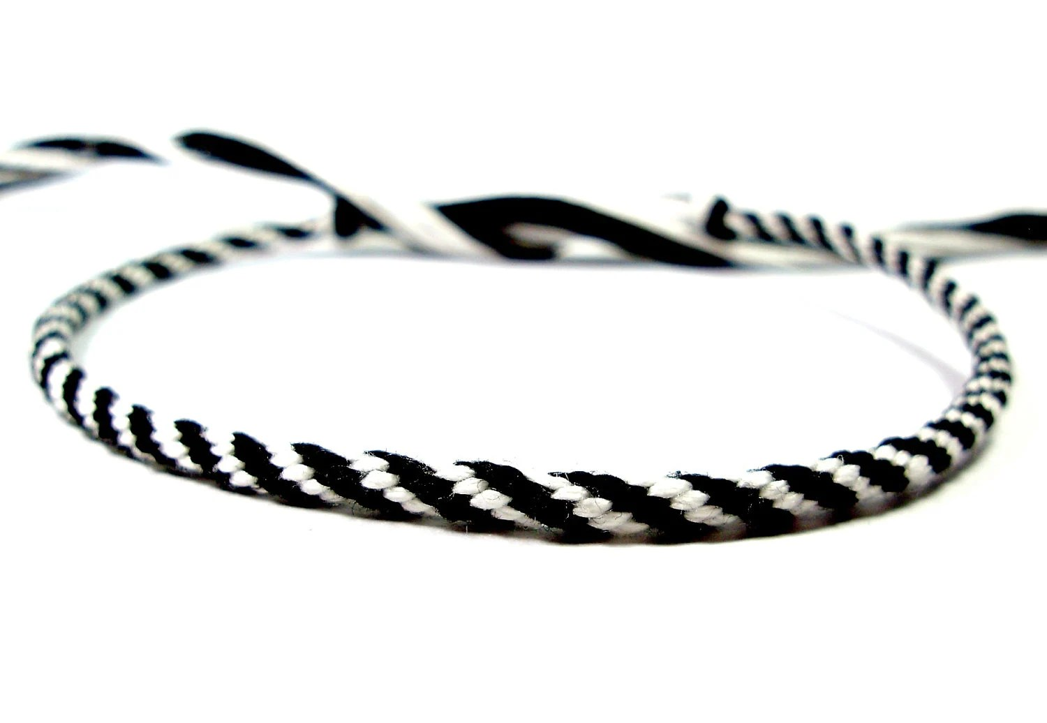 Black and White Kumihimo Friendship Bracelet by QuietMischief