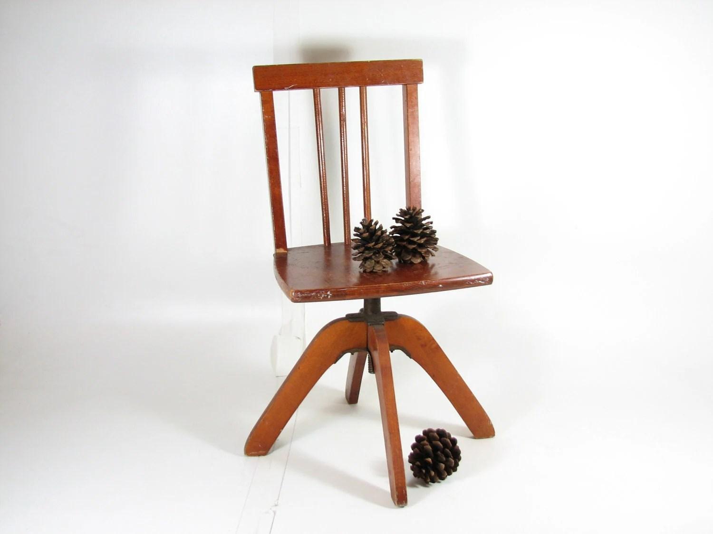 Vintage Child Swivel Desk Chair Wooden Desk by BridgewoodPlace