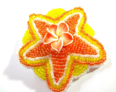Bright Yellow and Orange Hair Clip - Beaded Clip Featuring a Hawaiian Plumeria - MegansBeadedDesigns
