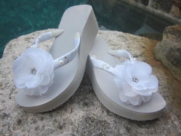 Bridal Flip Flops Wedges.wedding Flops.white Flower