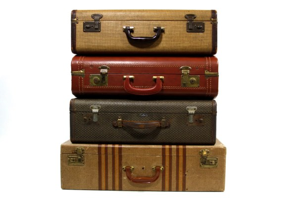 Reserved Set Of Four Stackable Vintage Suitcases