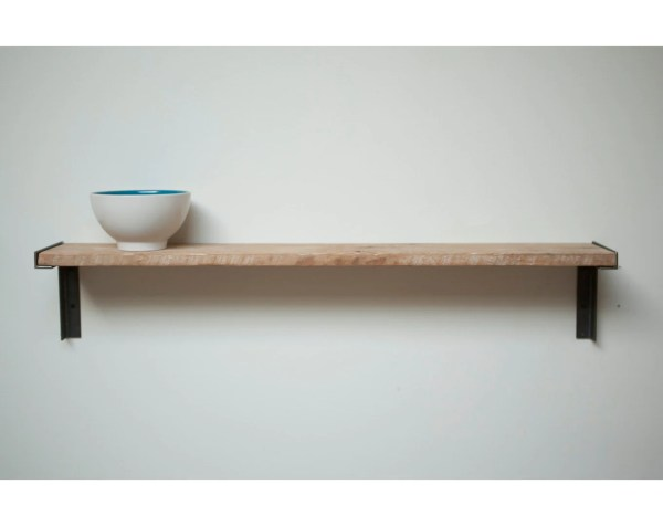 Minimal Wall mount Shelf Reclaimed Old Growth Wood an Iron