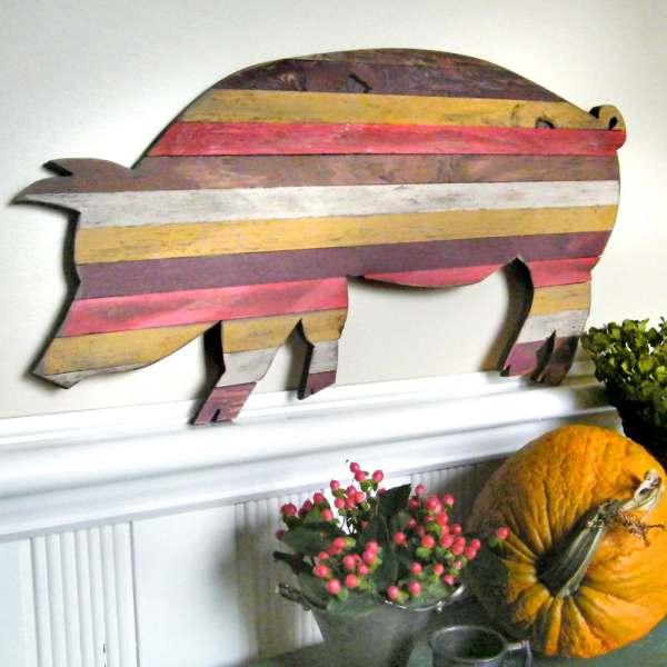 Pallet Wood Pig Customizable Art Wooden Kitchen Decor