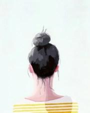 hair art bun print top knot 19