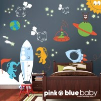 Kids Wall Decals Outer Space Removable Wall by pinknbluebaby