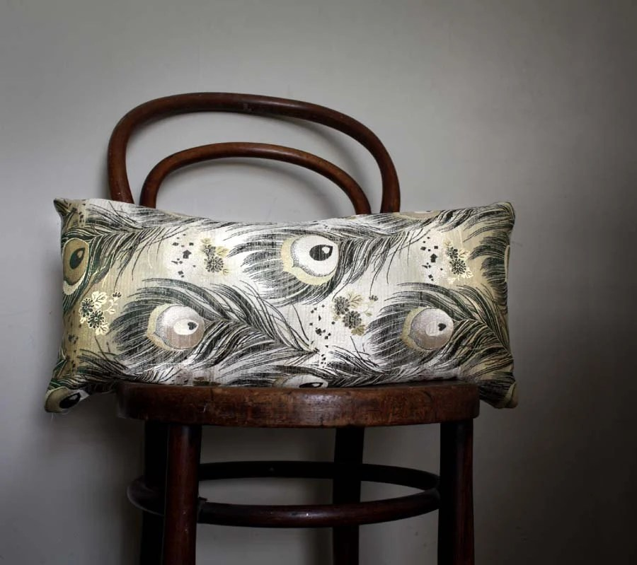 Silver Peacock Decorative Pillow by project sarafan. Recycled Kimono Obi Belt and Natural Linen. 30x60cm (12x24'') - ProjectSarafan