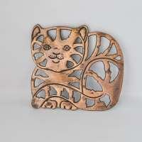 Vintage Cat Trivet Copper Metal Retro Kitchen Wall Decor