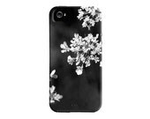 iPhone case, iphone 5 case, flower, black and white, queen annes lace, iPhone 4 case, pretty, iphone 5 cover, gift, under 50, cool - semisweetstudios