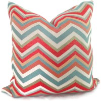 Orange and Blue Chevron Decorative Pillow Cover Accent