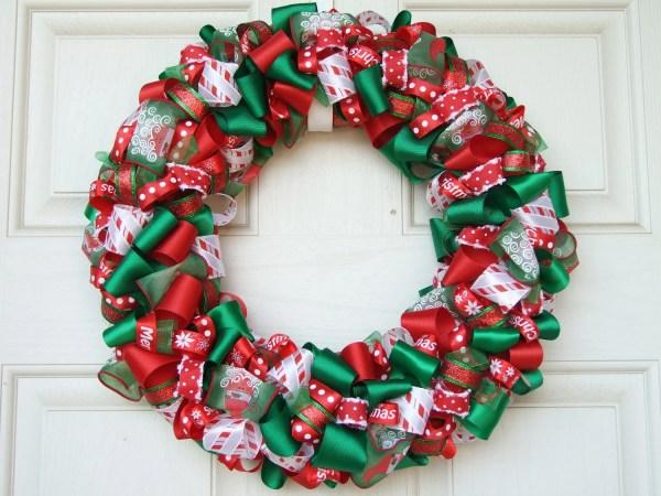Christmas Ribbon Wreath Decoration Home Decor