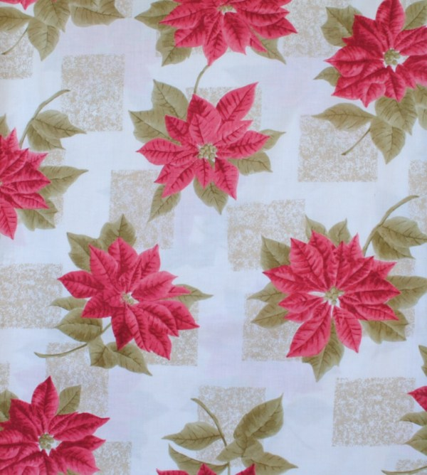 Christmas Fabric Victorian Poinsettia -white Background