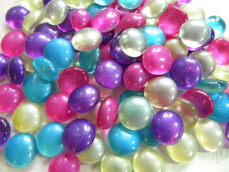 50 Glass Gems FIESTA Mix Mosaic Supplies Half Marbles
