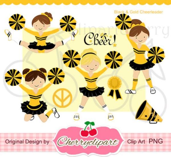 black and gold cheerleader digital