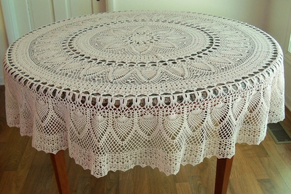 Handmade Crocheted Pineapple Tablecloth 70 Natural