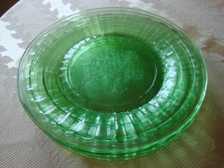 On reserve Snowflake Pattern Green Depression Glass 9