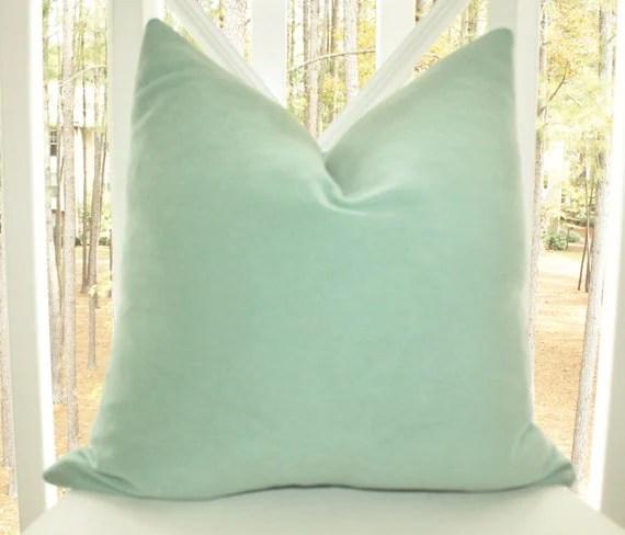 Decorative Mint Green Pillow 16 x 16 Sea Foam Green Velvet