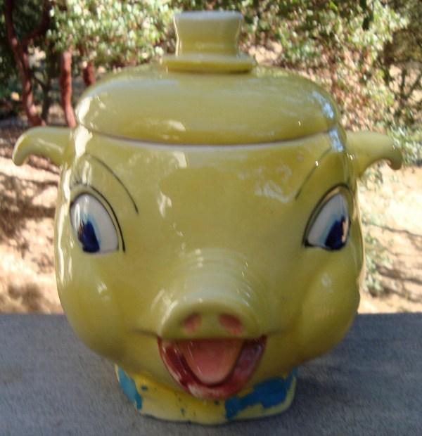 Vintage Ceramic Cookie Jar Yellow Pig' Head With