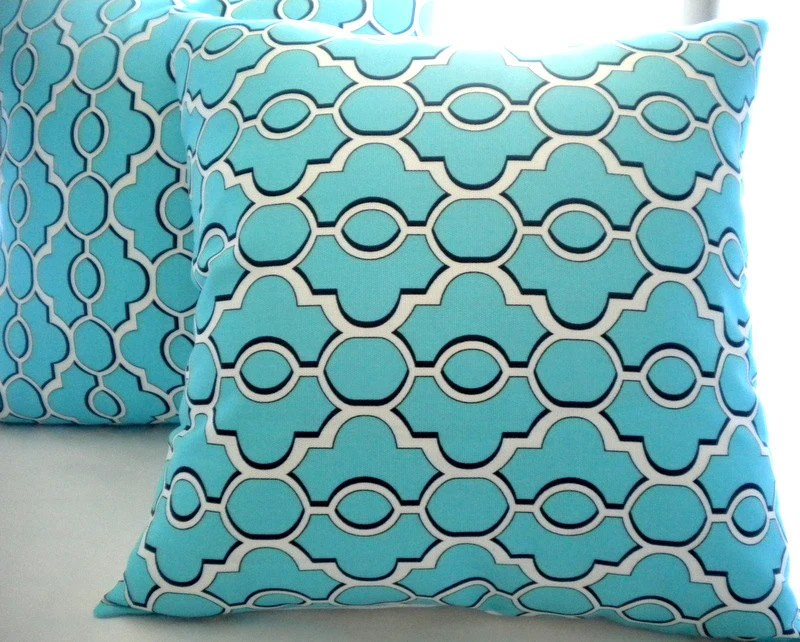 Aqua Turquoise White Throw pillow cover 18x18, floral pillow cover - MicaBlue