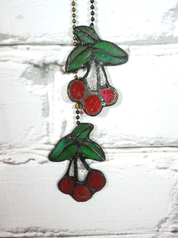 Vintage Stained Glass Ceiling Fan Pulls. Set