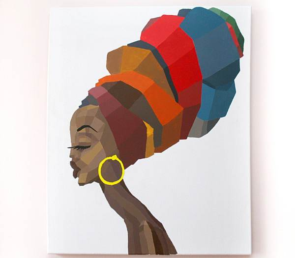 Faceted Portrait Of African Woman In Multicolored Turban