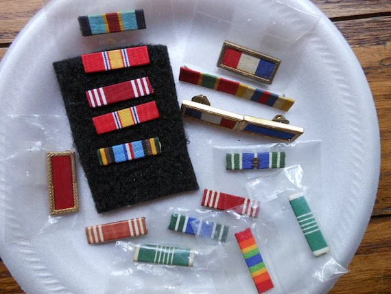 DESTASH Of MILITARY BARS Dress Uniform Rank And Merit World