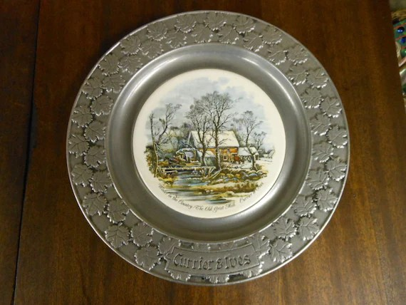 CURRIER  IVES PEWTER Decorating Plate Winter by