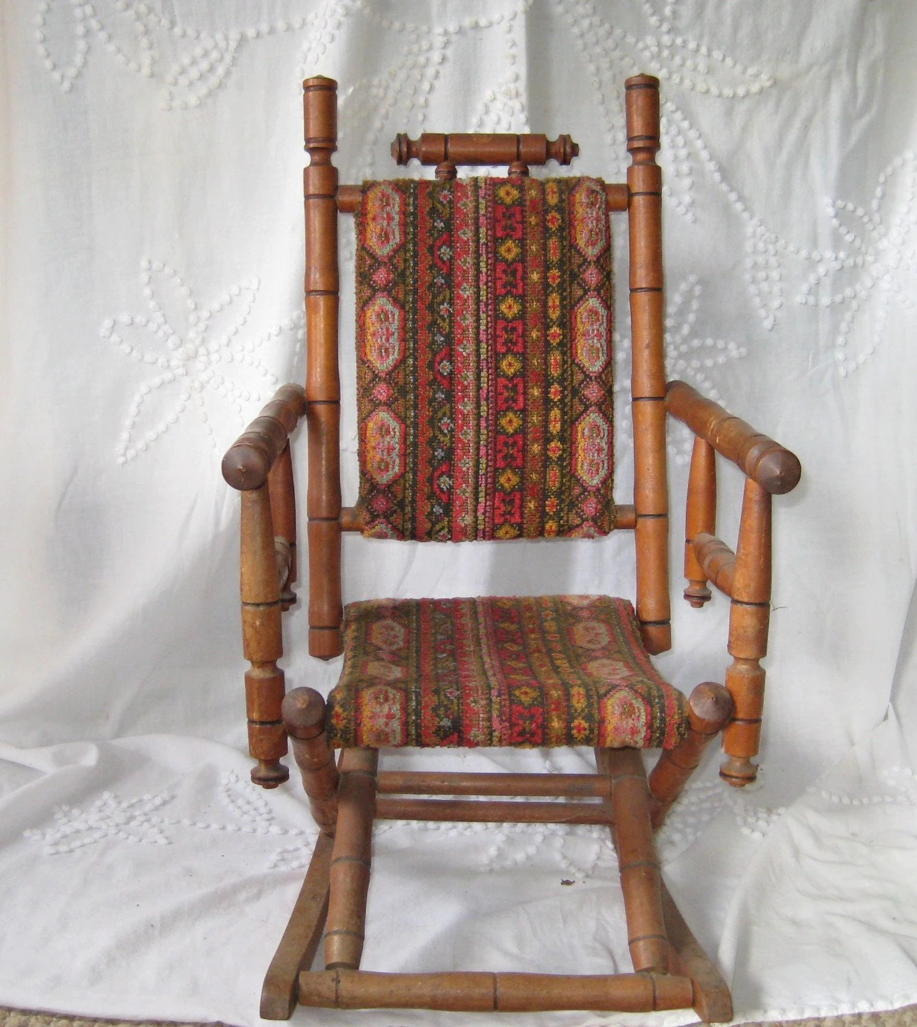 Antique Wooden Chair Antique Rocking Chair Childs Rocking Chair Upholstered