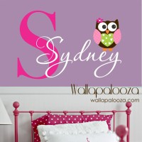 Owl Wall Decal custom name decal owl wall sticker vinyl