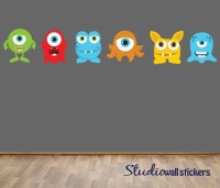 REUSABLE Monsters Wall Decal Childrens Fabric Wall Decal