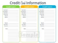 Credit Card Information Printable EDITABLE by ...