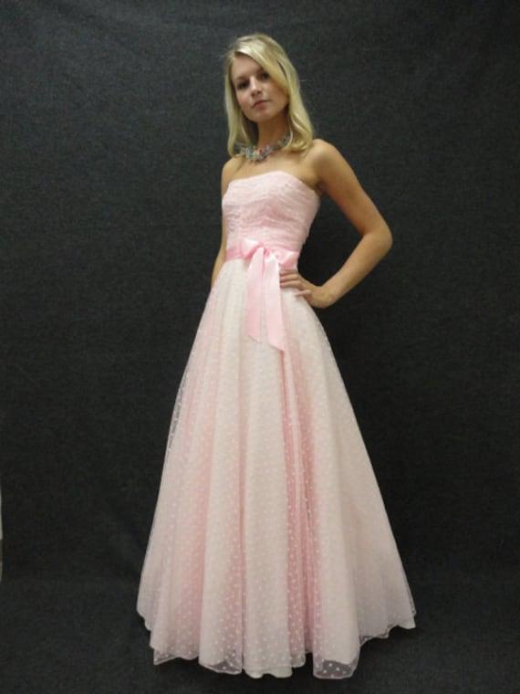 80s Dress  80s Prom Dress  Vintage 1980s Strapless Pink