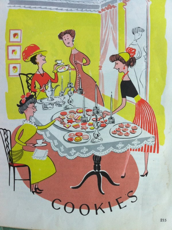Vintage Mcm Cookbook Illustration Ladies Cookies
