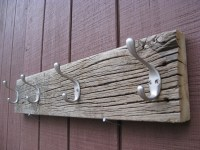 Rustic Reclaimed Barn Wood Coat Rack With Four Double Hooks.