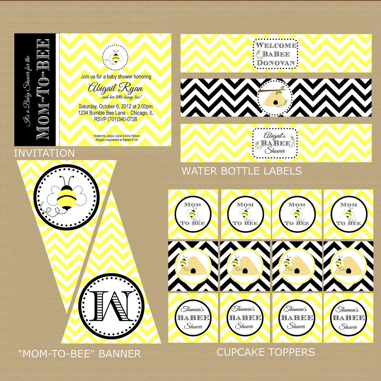 Items Similar To Bumble Bee Baby Shower Package Printable Baby Shower Package Bee Baby Shower