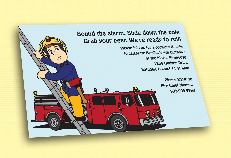 Fireman Sam Printable Birthday Invitation By Cuttlefishg