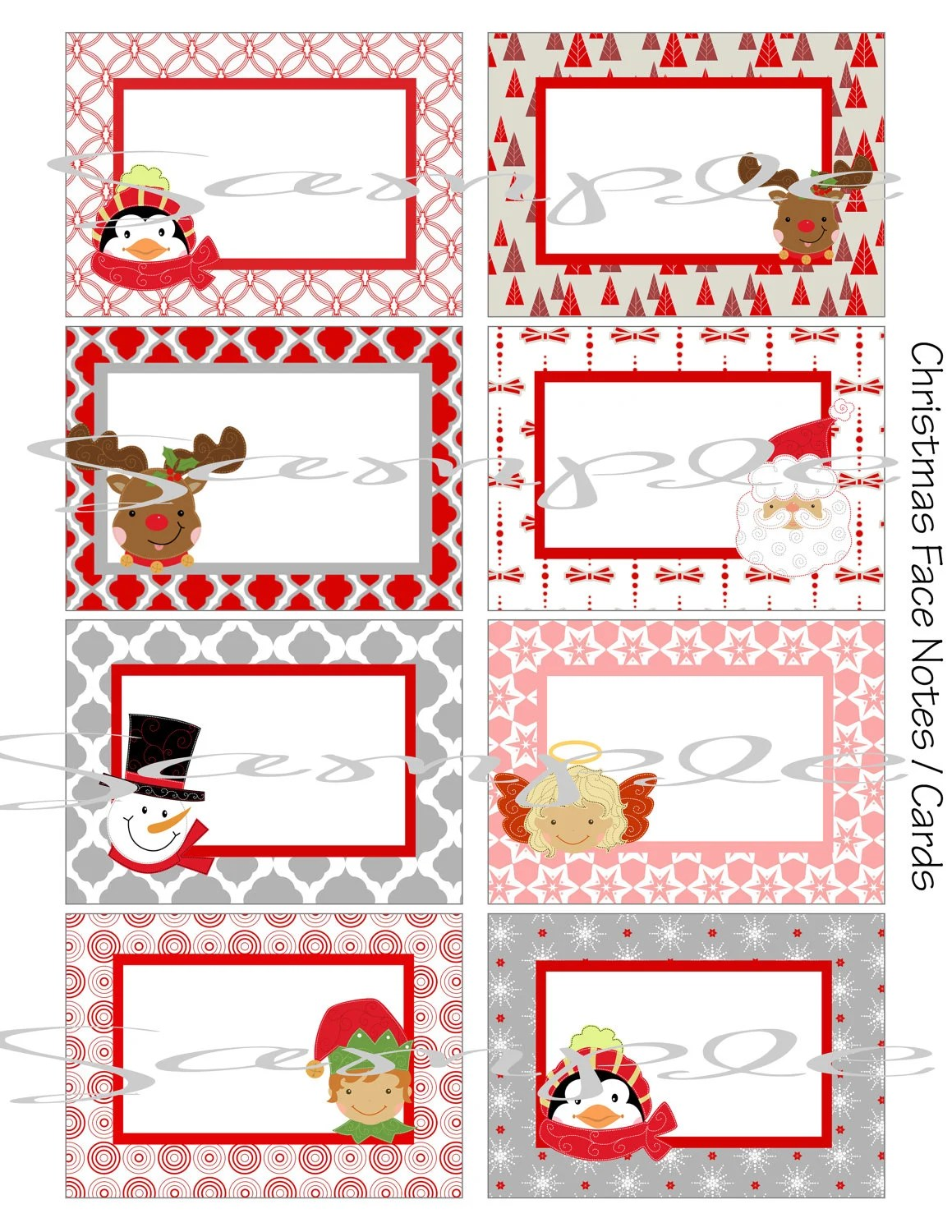 Instant Download Christmas Faces School Lunch Box Blank Note