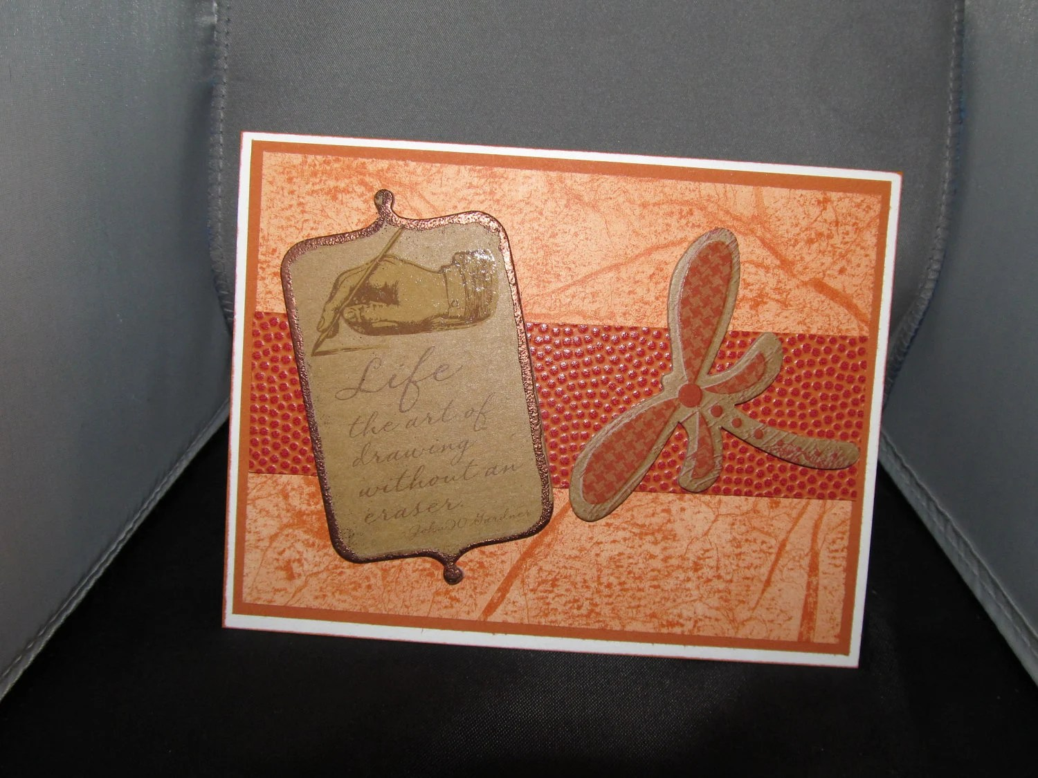 Awesome Dragonfly Card with Chipboard Embellishments, Masculine Card, Feminine Card, Card for Any Occasion