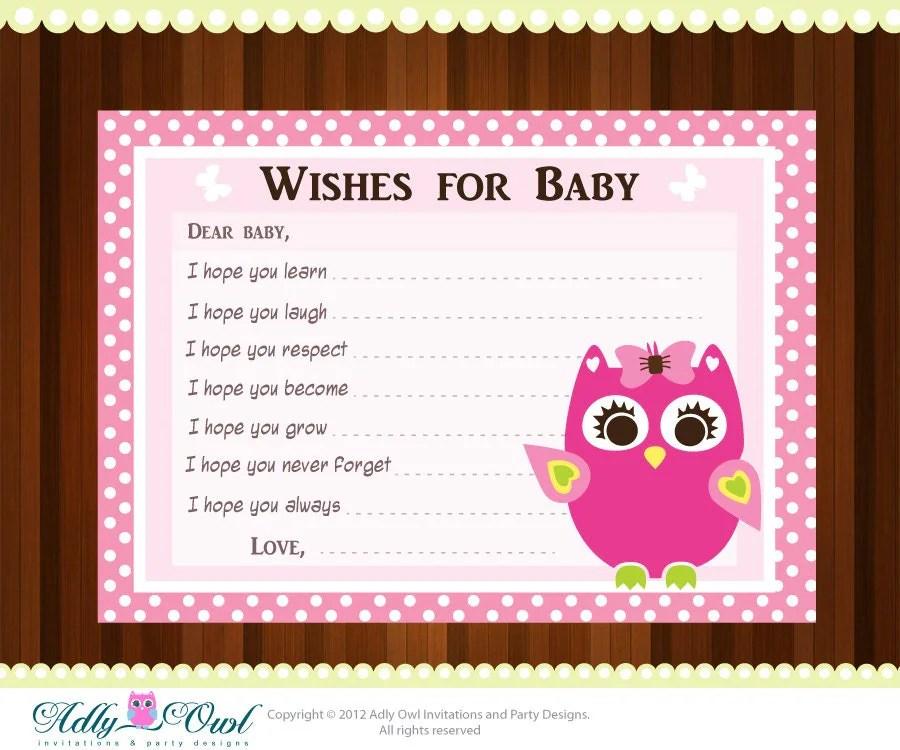 Pink Girl Owl Baby Shower Wish and Advice Card Printable DIY