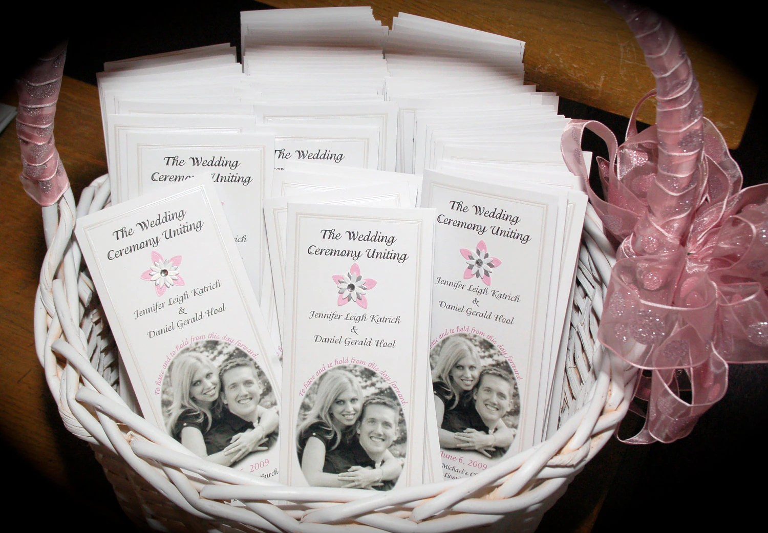 TriFold Wedding Program with Picture and Rhinestone